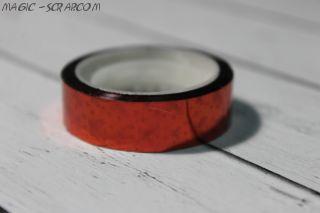 Декоративный голографический скотч - красный