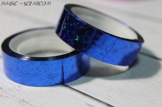Декоративный голографический скотч - синий