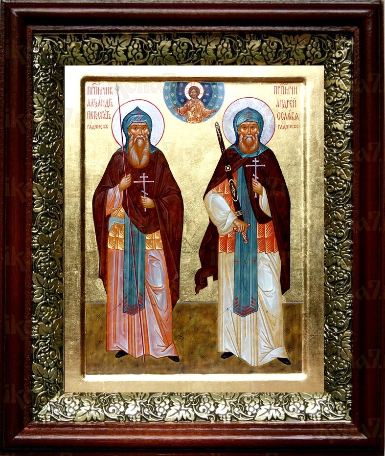 Александр Пересвет и Андрей Ослябя (19х22), темный киот