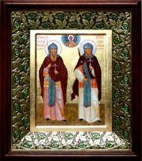 Александр Пересвет и Андрей Ослябя (21х24), киот со стразами