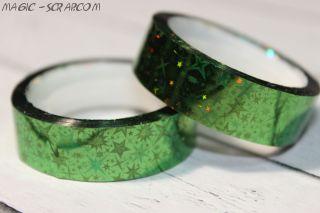 Декоративный голографический скотч –  зеленый
