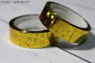 Декоративный голографический скотч – золото