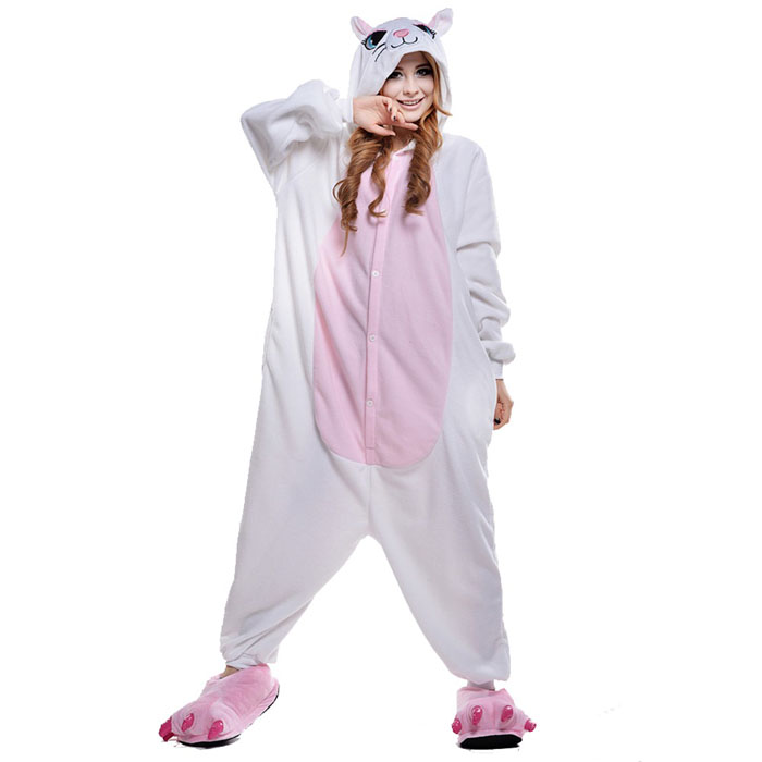 Пижама Кигуруми Кошка Белая Премиум