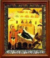 Ангел хранит спящего человека (19х22), светлый киот