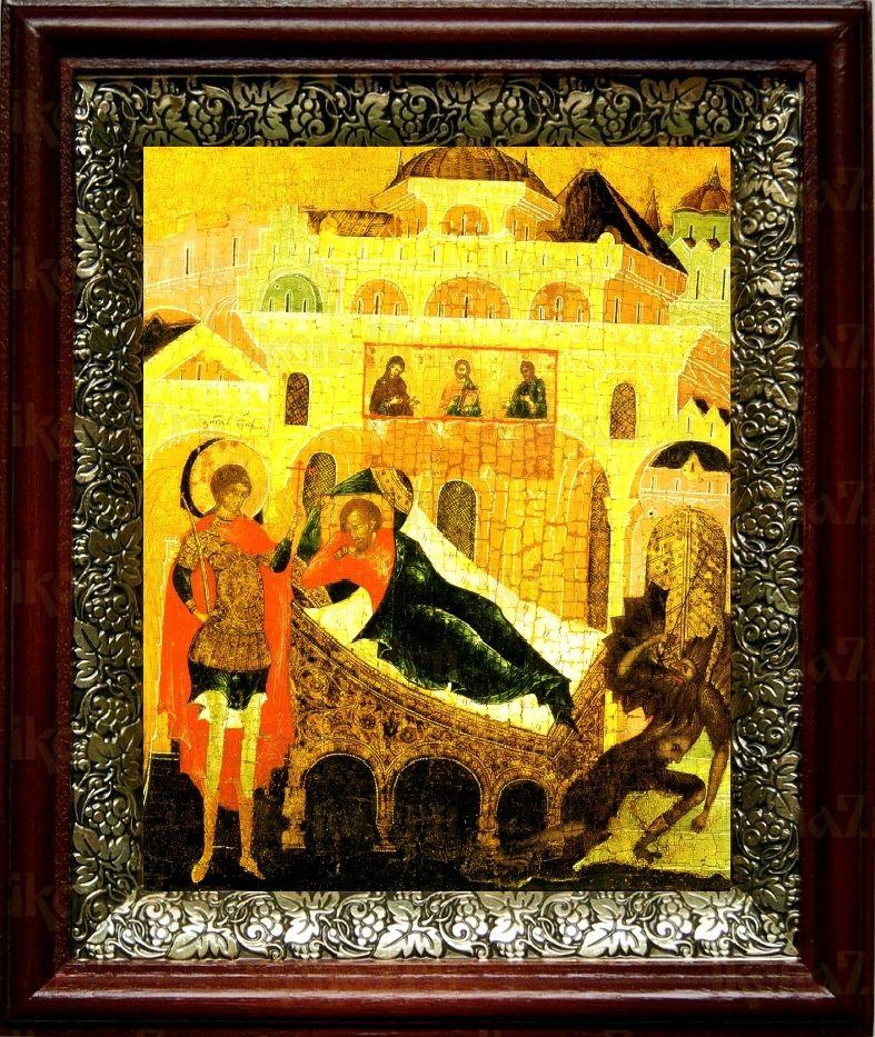 Ангел хранит спящего человека (19х22), темный киот