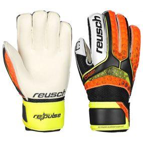Детские вратарские перчатки Reusch Re:Pulse SG Finger Support чёрно-оранжевые