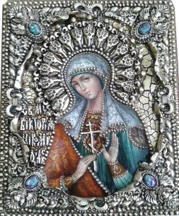 """Икона именная """"Виктория"""" 19 х 23 см, роспись по дереву, позолота, самоцветы"""