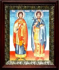 Косьма и Дамиан (19х22), темный киот