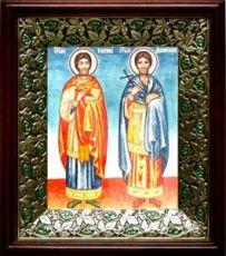 Косьма и Дамиан (21х24), киот со стразами