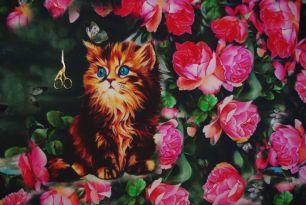 Котенок с розами  Футер 2-х нитка с лайкрой