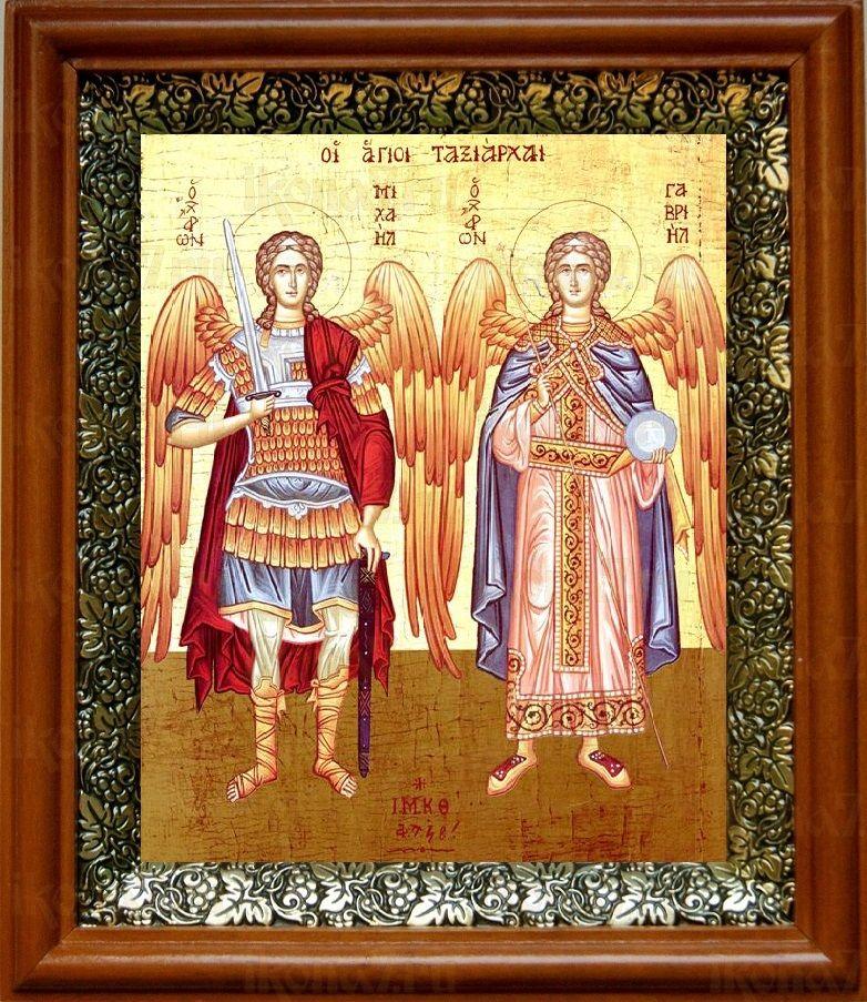 Михаил и Гавриил (19х22), светлый киот