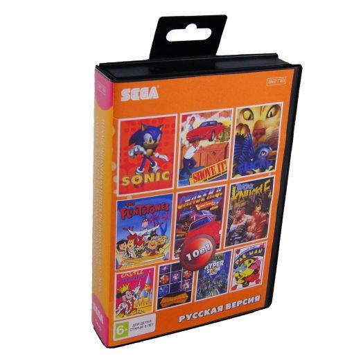 Sega картридж  10в1 (CW-43) TURTLES/ SONIC/ CHASE HQ 2/ BARE KNUCKLE/FLINTSTIONS+