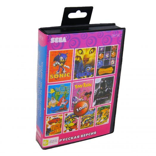 Sega картридж 10в1 (SK-10001) TOM JERRY/MERMAID/BATMAN/TINY TOON/FANTASIA/SONIC+..