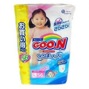 Подгузники-Трусики GOON L (9-14 кг), 56 шт/уп для девочек [Мега-пак]