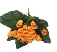 Искусственный букет роз бутонов 18 голов с большими листьями