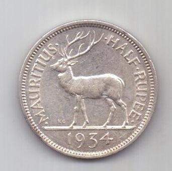 1/2 рупии 1934 г. AUNC Маврикий. Великобритания