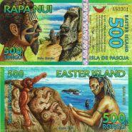 Остров Пасхи банкнота 500 ронго 2012 г. Пластик UNC