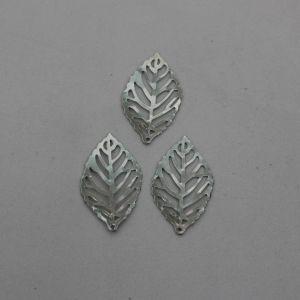 """Декоративный элемент """"филигрань"""" листик 20х35 мм, цвет темное серебро (1уп = 50шт)"""