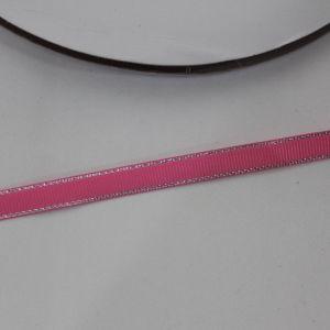 Лента репсовая однотонная с металл. кромкой(серебро) 09 мм, длина 25 ярдов, цвет: 156 розовый