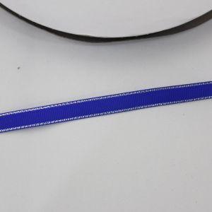 Лента репсовая однотонная с металл. кромкой(серебро) 09 мм, длина 25 ярдов, цвет: 352 синий