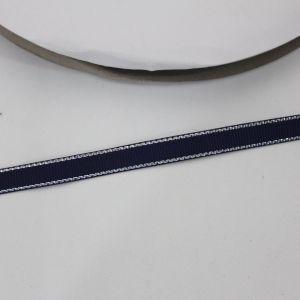 Лента репсовая однотонная с металл. кромкой(серебро) 09 мм, длина 25 ярдов, цвет: 370 темно-синий