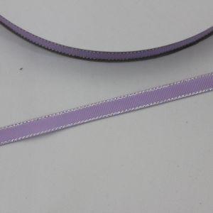 Лента репсовая однотонная с металл. кромкой(серебро) 09 мм, длина 25 ярдов, цвет: 430 светло-сиреневый