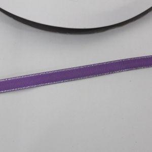 Лента репсовая однотонная с металл. кромкой(серебро) 09 мм, длина 25 ярдов, цвет: 463 сиреневый