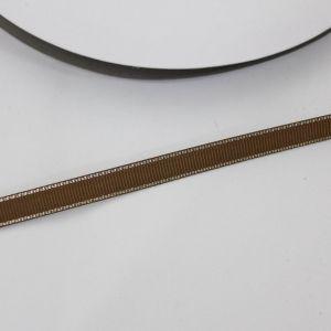 Лента репсовая однотонная с металл. кромкой(серебро) 09 мм, длина 25 ярдов, цвет: 847 темно-коричневый