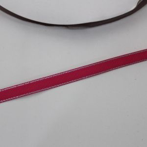 Лента репсовая однотонная с металл. кромкой(серебро) 09 мм, длина 25 ярдов, цвет: 187 малиновый