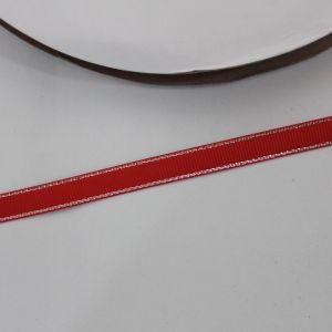 Лента репсовая однотонная с металл. кромкой(серебро) 09 мм, длина 25 ярдов, цвет: 250 красный