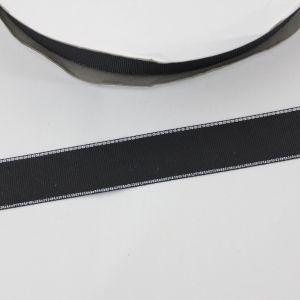 Лента репсовая однотонная с металл. кромкой(серебро) 25 мм, длина 25 ярдов, цвет: 030 черный