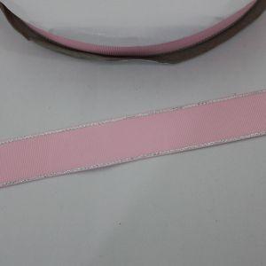 Лента репсовая однотонная с металл. кромкой(серебро) 25 мм, длина 25 ярдов, цвет: 123 светло-розовый