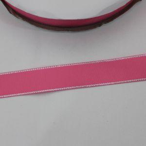 Лента репсовая однотонная с металл. кромкой(серебро) 25 мм, длина 25 ярдов, цвет: 156 розовый
