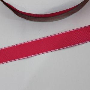 Лента репсовая однотонная с металл. кромкой(серебро) 25 мм, длина 25 ярдов, цвет: 175 ярко-розовый