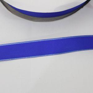 Лента репсовая однотонная с металл. кромкой(серебро) 25 мм, длина 25 ярдов, цвет: 352 синий