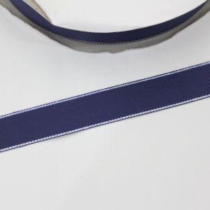 Лента репсовая однотонная с металл. кромкой(серебро) 25 мм, длина 25 ярдов, цвет: 370 темно-синий