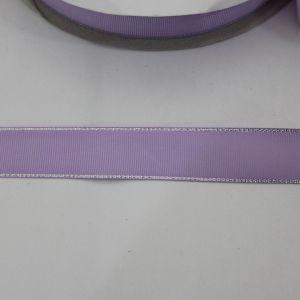 Лента репсовая однотонная с металл. кромкой(серебро) 25 мм, длина 25 ярдов, цвет: 430 светло-сиреневый