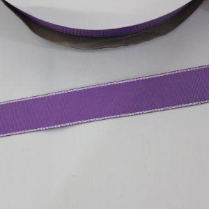 Лента репсовая однотонная с металл. кромкой(серебро) 25 мм, длина 25 ярдов, цвет: 463 сиреневый