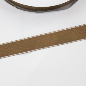 Лента репсовая однотонная с металл. кромкой(серебро) 25 мм, длина 25 ярдов, цвет: 847 темно-коричневый