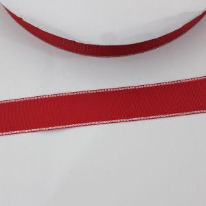 Лента репсовая однотонная с металл. кромкой(серебро) 25 мм, длина 25 ярдов, цвет: 250 красный