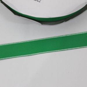 Лента репсовая однотонная с металл. кромкой(серебро) 25 мм, длина 25 ярдов, цвет: 580 зеленый
