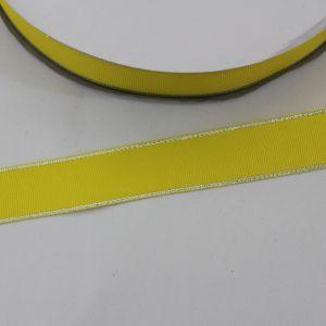 Лента репсовая однотонная с металл. кромкой(серебро) 25 мм, длина 25 ярдов, цвет: 645 желтый