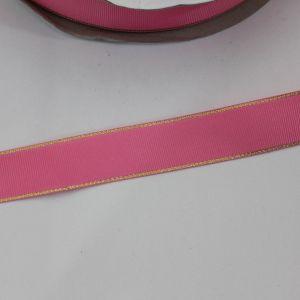 Лента репсовая однотонная с металл. кромкой(золото) 25 мм, длина 25 ярдов, цвет: 156 розовый