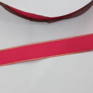 Лента репсовая однотонная с металл. кромкой(золото) 25 мм, длина 25 ярдов, цвет: 175 ярко-розовый