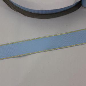 Лента репсовая однотонная с металл. кромкой(золото) 25 мм, длина 25 ярдов, цвет: 308 голубой