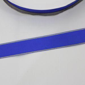 Лента репсовая однотонная с металл. кромкой(золото) 25 мм, длина 25 ярдов, цвет: 352 синий