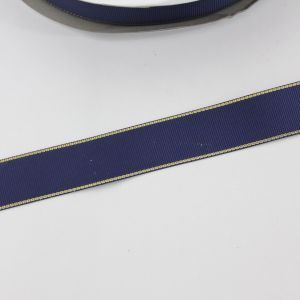 Лента репсовая однотонная с металл. кромкой(золото) 25 мм, длина 25 ярдов, цвет: 370 темно-синий