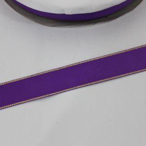 Лента репсовая однотонная с металл. кромкой(золото) 25 мм, длина 25 ярдов, цвет: 465 фиолетовый