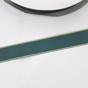 Лента репсовая однотонная с металл. кромкой(золото) 25 мм, длина 25 ярдов, цвет: 593 темно-зеленый