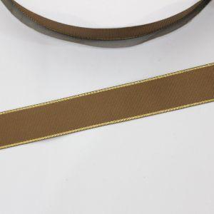 Лента репсовая однотонная с металл. кромкой(золото) 25 мм, длина 25 ярдов, цвет: 847 темно-коричневый